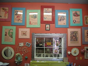 Just-a-few-of-the-vintage-prints-framed-in-beadboard